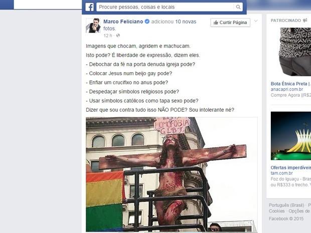 Deputado Federal Marco Feliciano critica Parada Gay nas redes sociais (Foto: Reprodução/Facebook)
