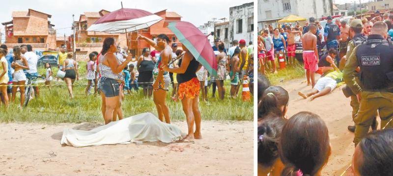 Familiares cobriram o corpo de Claudionor Rodrigues de Souza, que foi atingido quando participava de um jogo de bola de um campeonato entre bairros