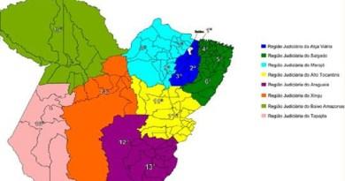 As 16 Regiões Judiciárias foram aglutinadas em oito Regiões específicas(Imagem TJPA)