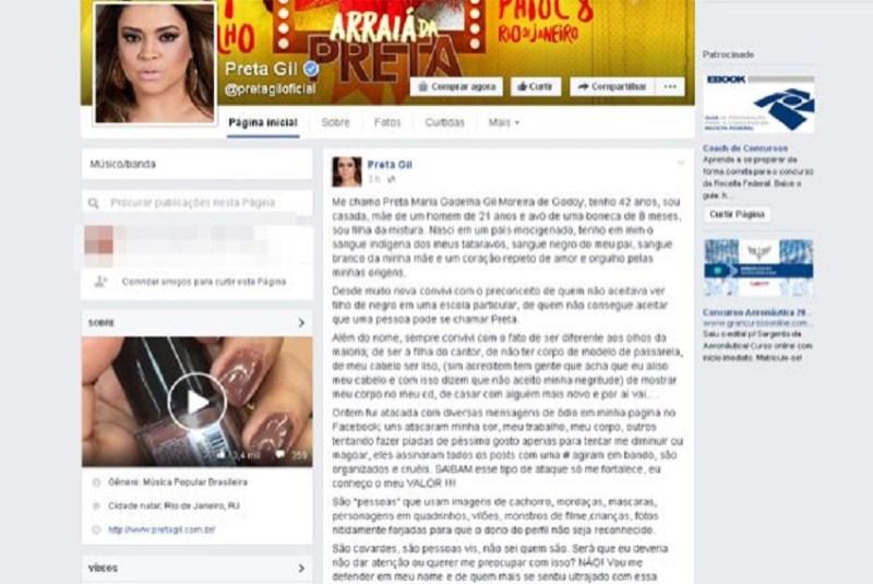 Preta Gil denunciou ataques de ódio na web