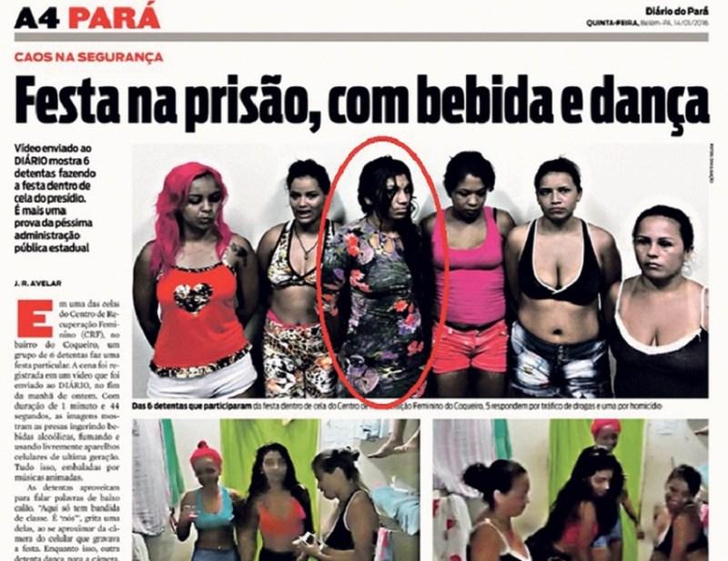 Com as colegas de cela fazendo uma festa no Centro de Recuperação Feminino, em 14 de janeiro. (Foto: reprodução)