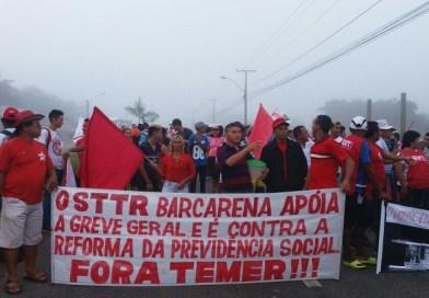 Trabalhadores protestam contra reformas trabalhistas e da previdência no PA