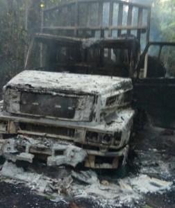 Caminhão destruído pelo IBAMA