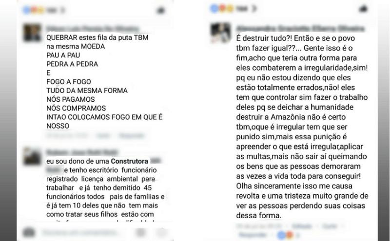 Prints de ameaças e xingamentos à gerente do IBAMA (Foto: Reprodução/Facebook)