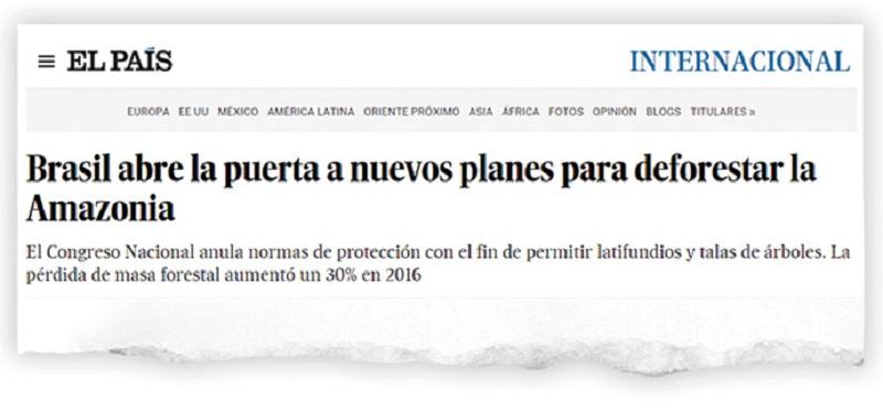 'El País' (Espanha): Brasil abre a porta para novos planos de desmatar a Amazônia (Reprodução/Reprodução)