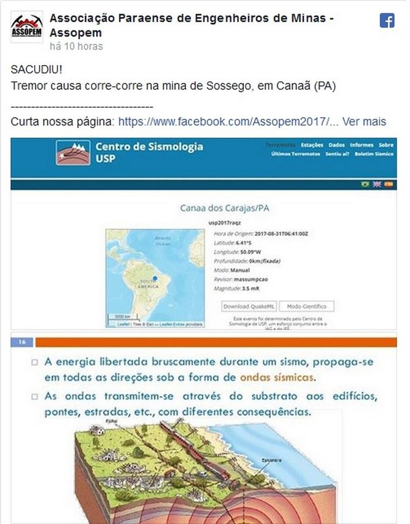 Associação Paraense de Engenheiros de Minas registrou em sua página oficial em uma rede social que seus trabalhadores sentiram o tremor de terra em Canaã dos Carajás nesta quinta-feira (31). (Foto: Reprodução)