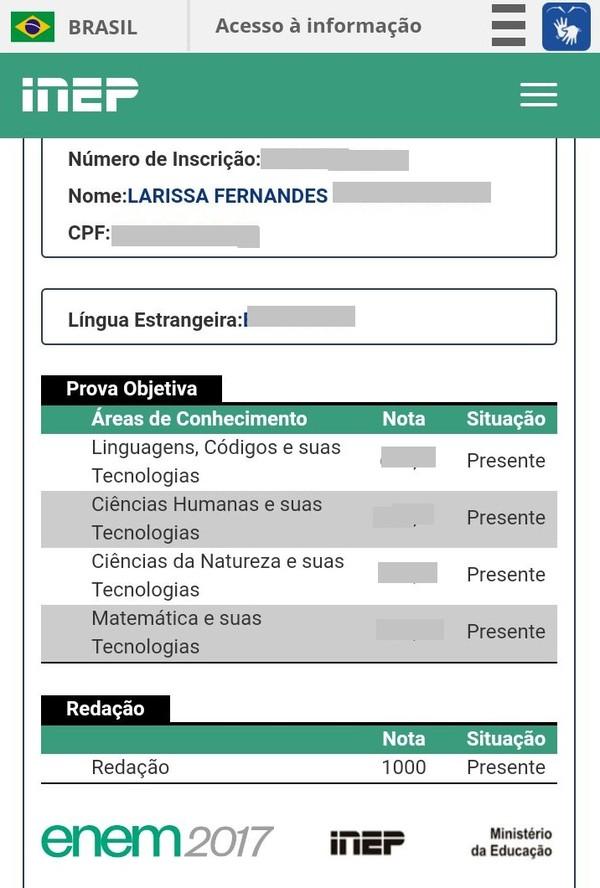 Reprodução do site do INEP comprova resultado da prova de Larissa. (Foto: Larissa Fernandes / Arquivo Pessoal)