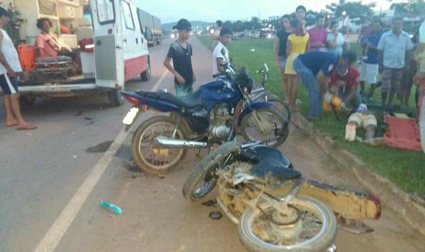 Acidente entre duas motos deixa dois feridos na rodovia BR163 em Novo Progresso