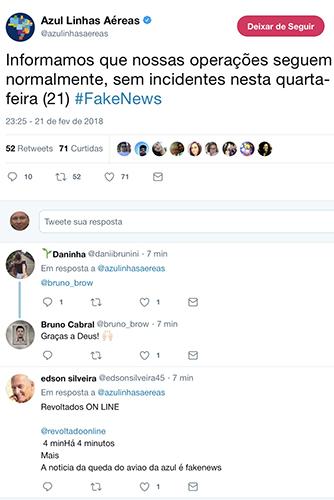Foto: Divulgação Azul desmente boato (Twitter)