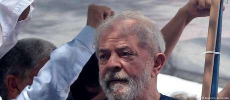O ex-presidente Lula, em comício antes de ser preso em São Bernardo Foto: DW / Deutsche Welle