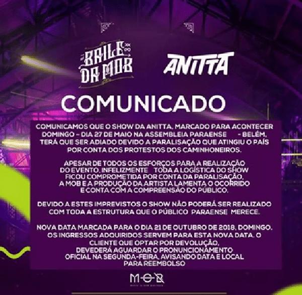 Anitta cancela show em Belém por dificuldades de transporte em meio à greve dos caminhoneiros (Foto: Reprodução/Facebook)