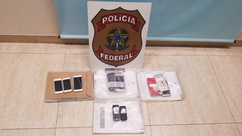 Celulares foram apreendidos na cidade de Redenção, no sul do Pará. (Foto: Divulgação/ Polícia Federal. )