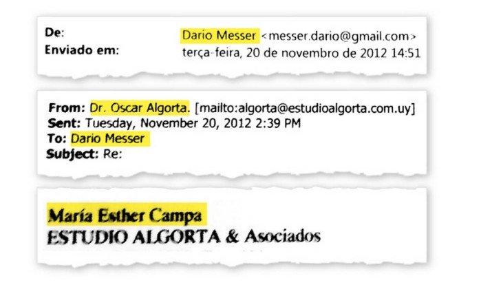 Troca de e-mails entre Dario Messer e Oscar Algorta - Reprodução