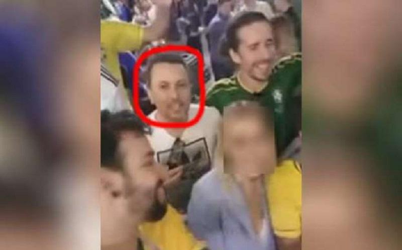 (Foto:© Reprodução ) -Eduardo Nunes, tenente da PM de Santa Catarina, aparece em vídeo onde torcedores brasileiros constrangem russa