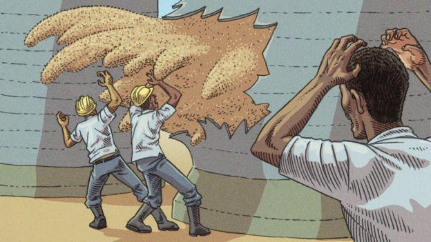 Direito de imagem Vitor Flynn/BBC News Brasil Ruptura de parede de silo foi um dos tipos de acidente em armazéns de grãos que provocaram mortes no Brasil na última década Mortes em silos em outros países