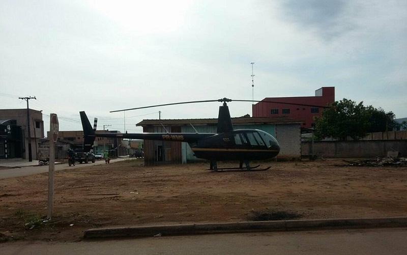 Helicóptero pousou área urbana em Novo Progresso (Foto:Jornal Folha do Progresso)