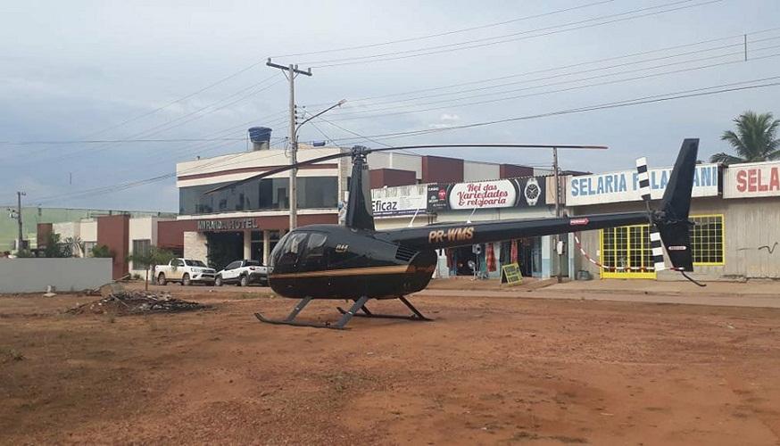 Helicóptero faz pouso em área central e deixa moradores sem energia em Novo Progresso
