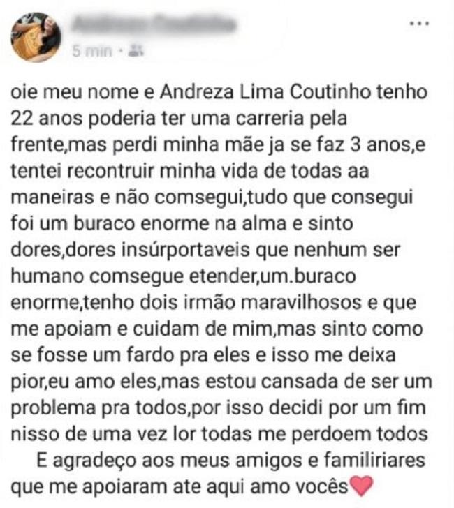 Postagem de Andreza