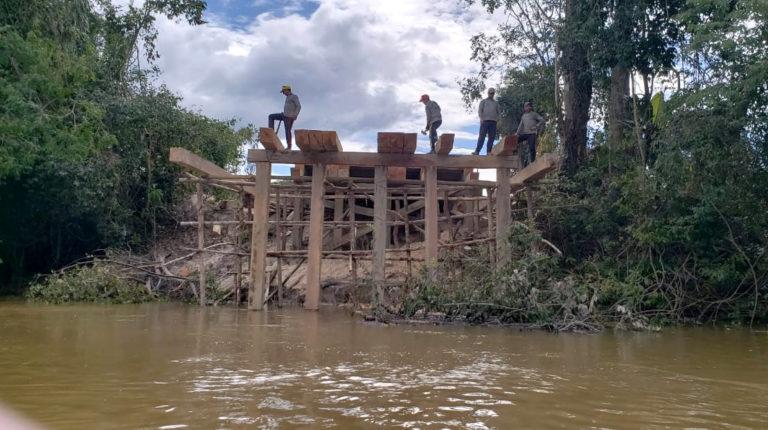 Ponte sendo construida em Jardim do Ouro (Foto:Reprodução whatsapp)