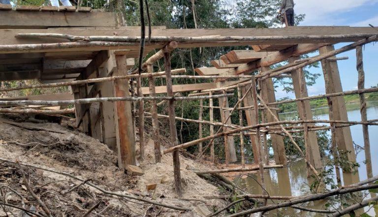 Pnte sendo construida em Jardim do Ouro (Foto:Reprodução whatsapp)
