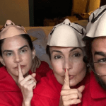 """Fátima Bernardes e o namorado Túlio Gadêlha pulam carnaval usando máscaras de """"La Casa de Papel"""""""