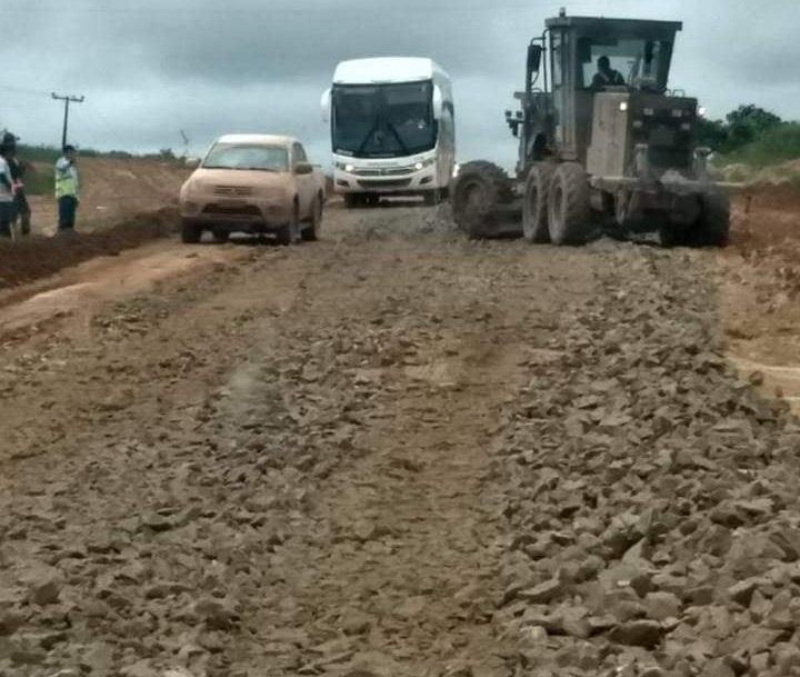 Trecho sendo recuperado (Foto:WhatsApp Jornal Folha do Progresso)