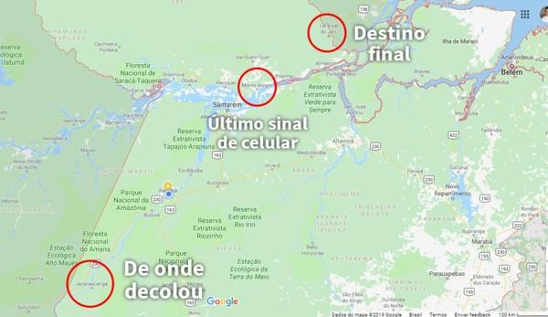 Mapa mostra pontos de decolagem, de onde foi rastreado o último sinal do celular e do destino final da rota de voo — Foto: Reprodução/Redes Sociais
