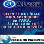 Ranking do Alexa aponta o site  Jornal Folha do Progresso um dos sites de notícias mais acessados do Pará