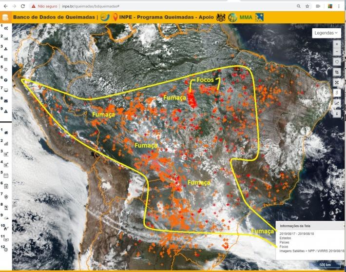 Imagens de satélite mostram caminho da fumaça da Amazônia para o Sudeste e Sul do País. Cada cruz é um foco. Crédito: Programa Queimadas / Inpe