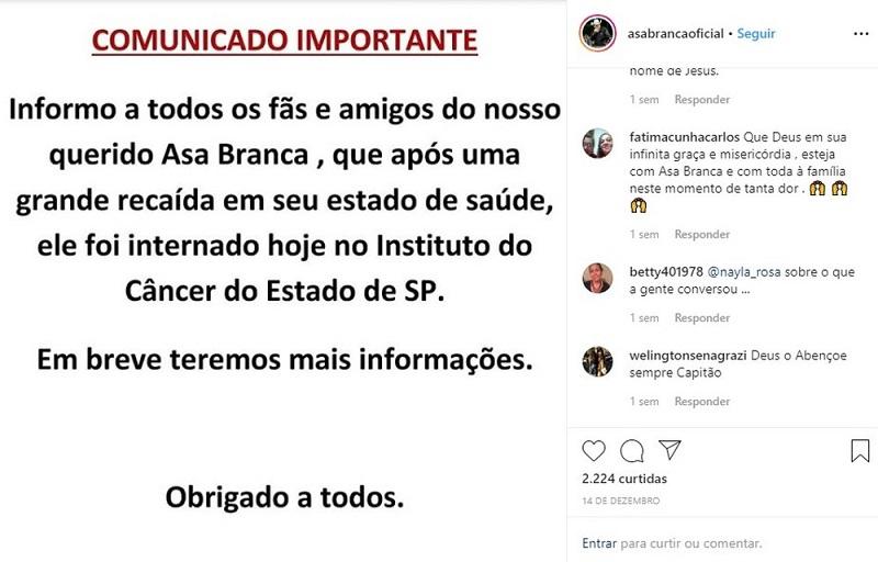 Locutor Asa Branca — Foto: Reprodução/Instagram
