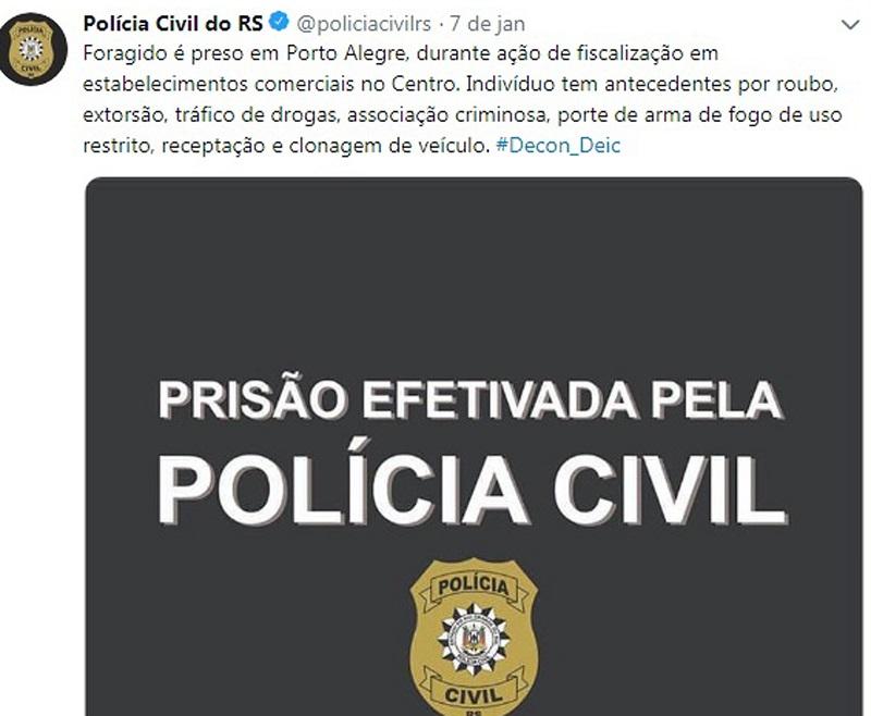 Polícia Civil do RS para de divulgar nas redes sociais imagens de presos, colocando cartela anunciando a prisão — Foto: Reprodução