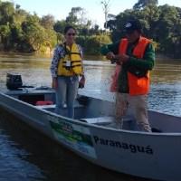 Fiscais da  Semma apreende Rede, durante operação contra a pesca predatória no rio jamanxim
