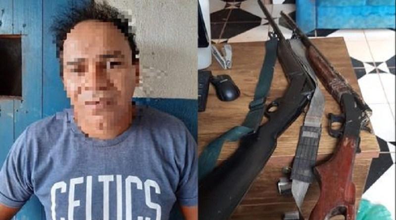 Suspeito preso e armas apreendidas