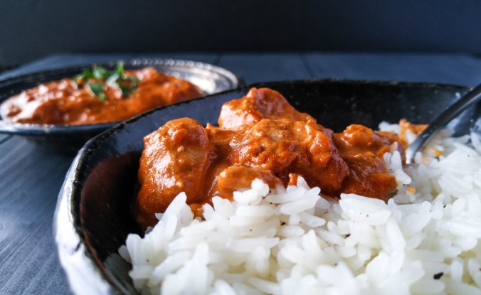 Butter chicken with cardamom and star anise jasmine rice.