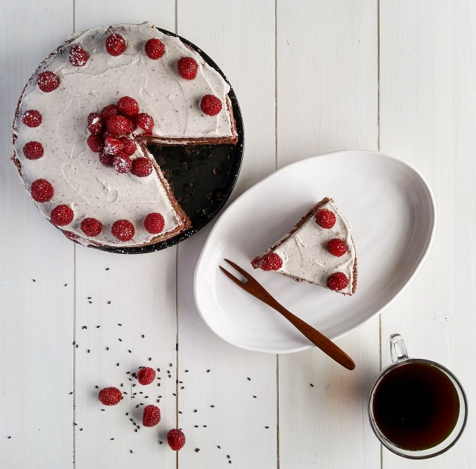 Raspberry chocolate cake with black sesame whipped cream.