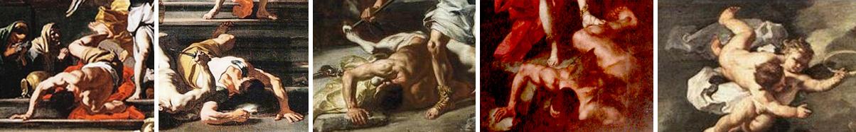 """I primi due sono compresi insieme nell'opera che si trova al Museo del Louvre a Parigi ne """"La cacciata di Eliodoro dal Tempio"""", solo il primo lo ripete nella chiesa del Gesù Nuovo, a Napoli, nel dipinto con lo stesso titolo e lo ripete ancora nel Museo dell'Arte di Toledo, il terzo si trova inserito ne """"la battaglia tra Lapiti e Centauri"""", il quarto è il S. Michele Arcangelo nella cattedrale di Nardò (Le), il putto reggi corona invece è nell'opera """"Giuditta e Oloferne"""" di Vienna, nel Kunsthistorisches Museum."""