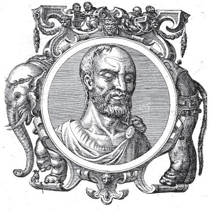 Teofrasto, immagine tratta da Icones veterum aliquot ac recentium medicorum philosophorumque elogiolis suis editae, opera I. Sambuci, Auterpiae, 1574