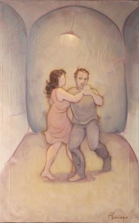 Coppia in interno con Sottofondo Musicale 2 ( olio su tela ) cm. 70 x 45