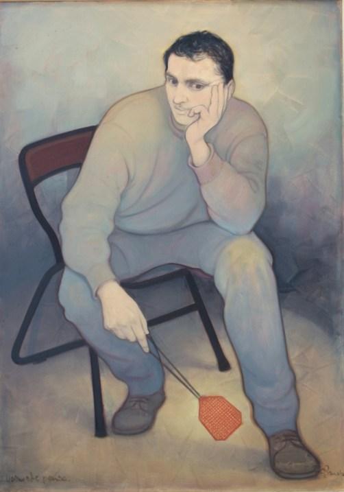 Uomo che Pensa (olio su tela) cm. 100x80