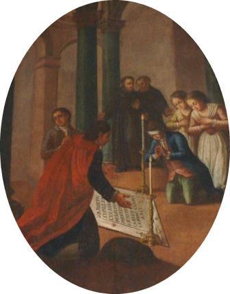 3. S. Lillo (attr.), Il fanciullo Stefano Mattei riacquista la vista pregando sulla tomba di San Giuseppe da Copertino. Copertino, Santuario di San Giuseppe da Copertino (ph. S. Tanisi)