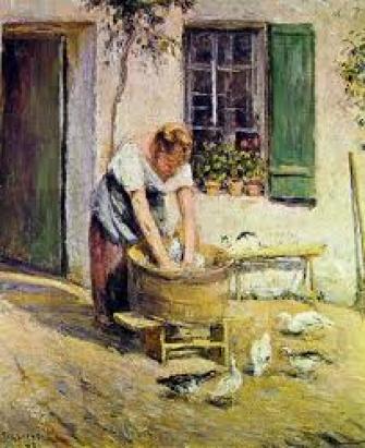 la lavandaia, di Camille Pissarro