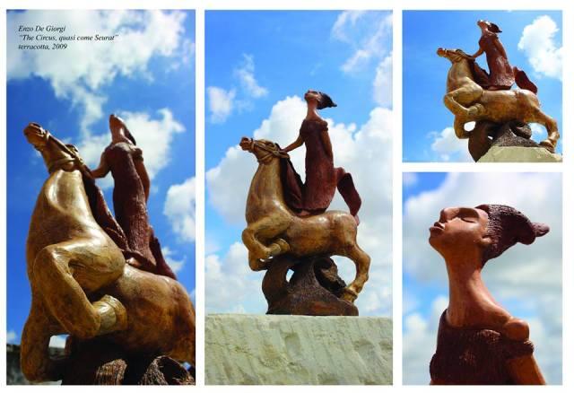 The Circus, quasi come Seurat - 2009 - cm 37x25x8, terracotta policroma