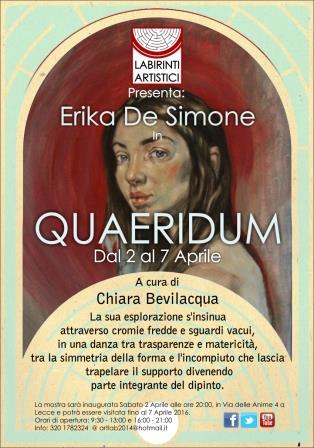 QUAERIDUM. Mostra Personale di Erika De Simone a Lecce