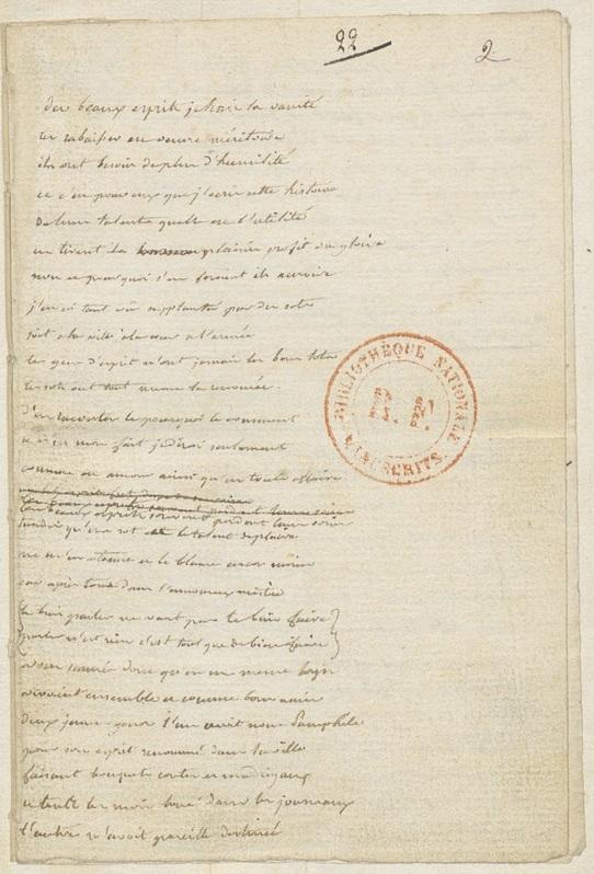 La arta 2 del manoscritto autografo, custodito nella Biblioteca Nazionale di Francia (dipartimento manoscritti francesi,n. 12845), con l'incipit del romanzo