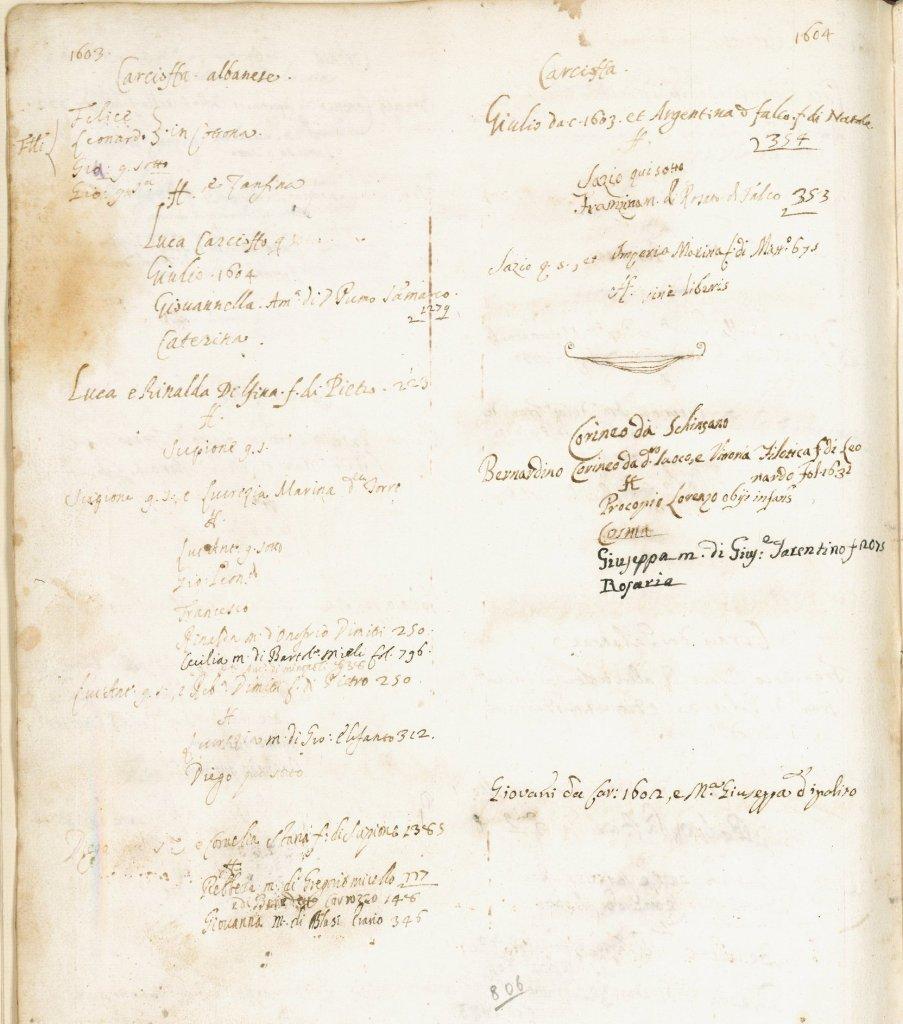 Fig. 2 - Note genealogiche sulla famiglia Carcioffa. Librone Magno, Manduria, Biblioteca comunale Marco Gatti, Manoscritti, ms. Rr/1-3 (1572-1810), c. 806v.