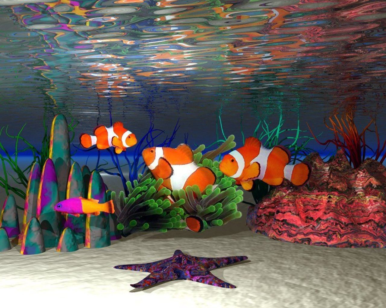 3d Fish Wallpapers For Desktop Peces Payaso 1280x1024 Fondos De Pantalla Y Wallpapers