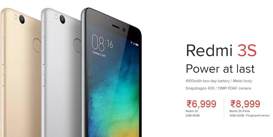 Redmi 3S Prime and Redmi 3S sale at 12:00 Noon, 25th Jan