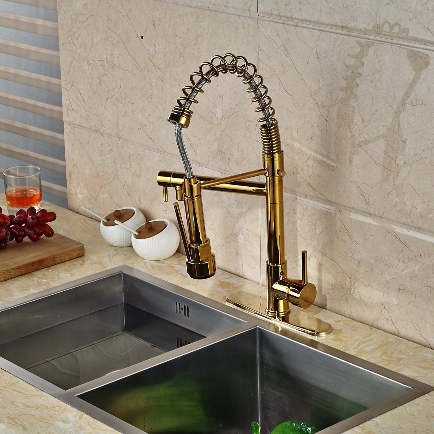 fsrjs kitchen sink faucet Venezuela Gold Finish Kitchen Sink Faucet with Pull Down Faucet
