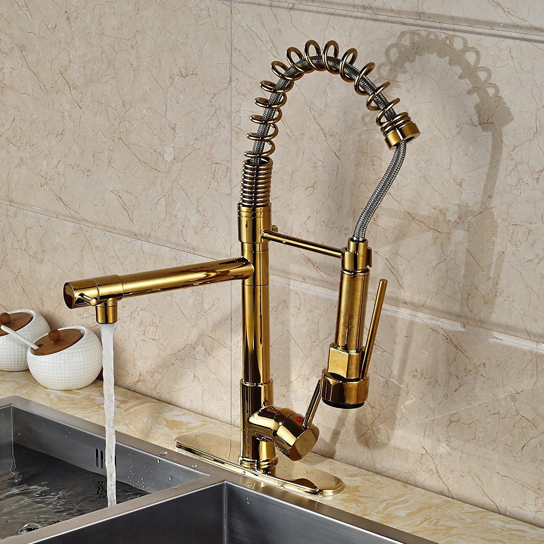 fsrjs brass kitchen faucet Venezuela Gold Finish Kitchen Sink Faucet with Pull Down Faucet