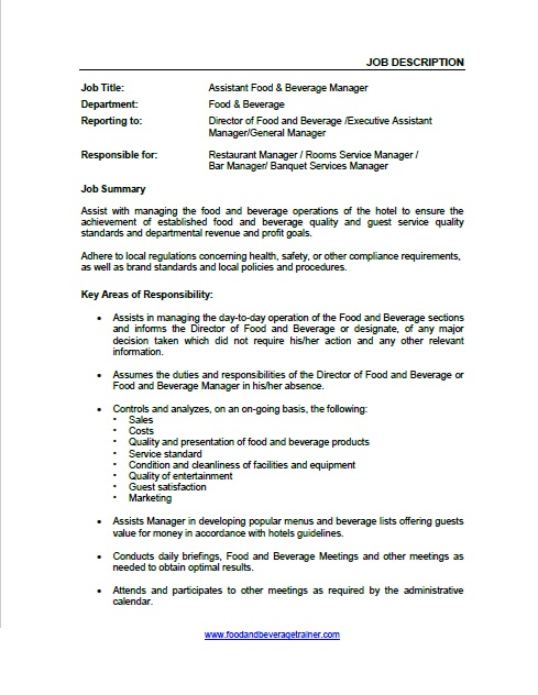 ... Food And Beverage Job Descriptions   Executive Director Job Description  ...